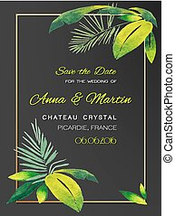 Wedding invitation card with Tropical Watercolor Design. Vector illustration.