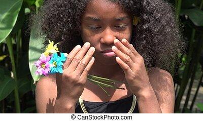 Sad and Crying Teen African Girl