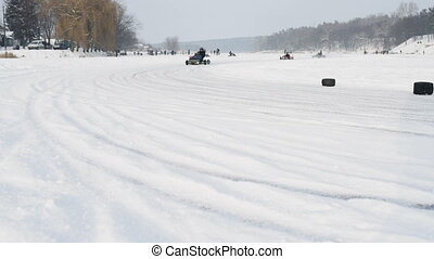 Kart racing on the frozen lake