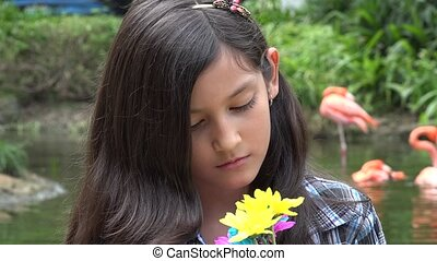 Solemn or Sad Young Girl