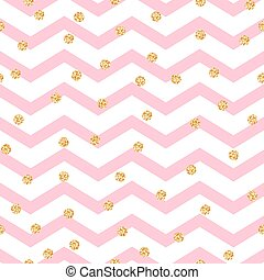 Chevron zigzag pink and white seamless pattern with golden...