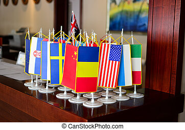 Flags on the desk