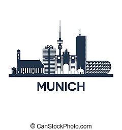 Munich Skyline Emblem - Abstract skyline of city Munich in...