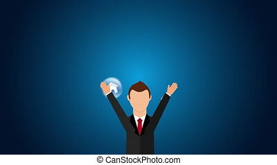 Businessman with technology icons, Video Animation