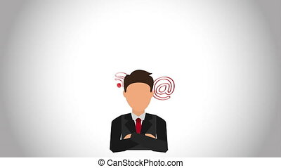Businessman with technology icons, Video Animation HD1080