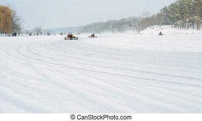 Kart racing on the frozen lake