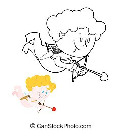 Cupid coloring book Cute Angel and bow and arrows Character...