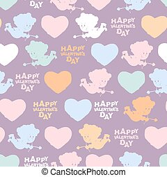 Romantic seamless pattern: Cupid and hearts Happy Valentines...