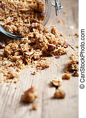 Homemade granola with hazelnuts and almonds