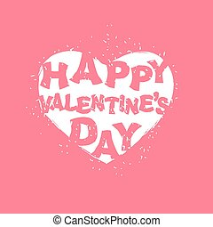 Happy Valentines day logo White heart on pink background...