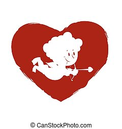 Cupid in heart Logo for Valentines day International holiday...