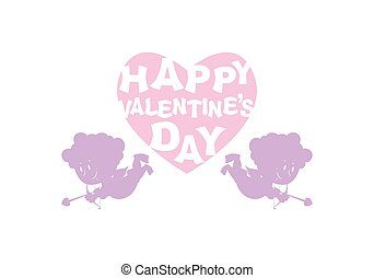 Valentines day. Silhouette Cupid and heart. Emblem for feast...