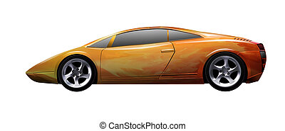 yellow sports car - vector illustration of a yellow sports...
