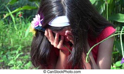 Young Girl Crying and Sad