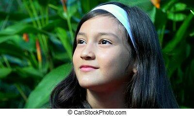 Hispanic Girl Wondering or Thinking