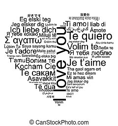 I love you tag cloud shaped as a heart, vector