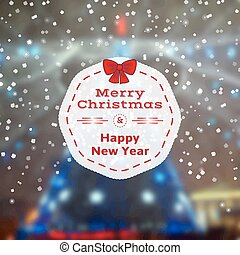 Winter poster - Merry Christmas and Happy New Year card,...