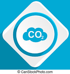carbon dioxide blue flat design modern icon for web and...