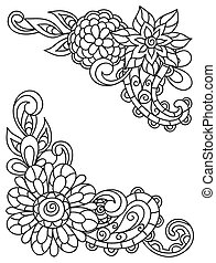 Corner vignettes with line flowers for adult coloring page...