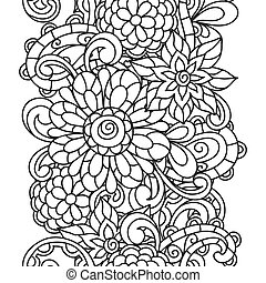 Seamless nature pattern with line flowers for adult coloring...