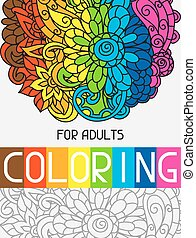 Adult coloring book design for cover. Illustration of trend...
