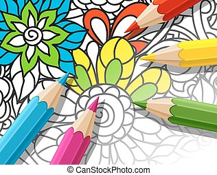 Adult coloring concept with pencils, printed pattern...