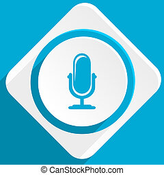 microphone blue flat design modern icon for web and mobile...