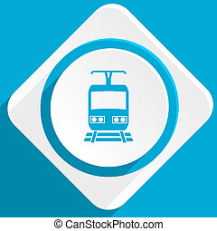 train blue flat design modern icon for web and mobile app