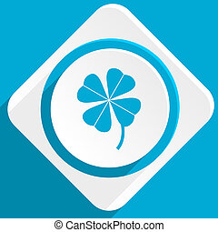 four-leaf clover blue flat design modern icon for web and...