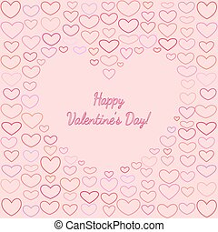 Saint Valentines Greeting Card with Outline Hearts