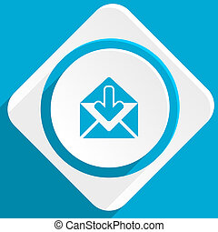email blue flat design modern icon for web and mobile app