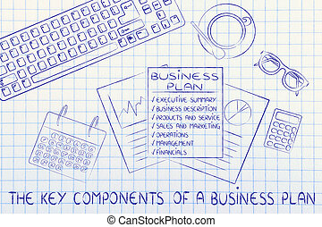 detailed business plan on office desk, with text The key...
