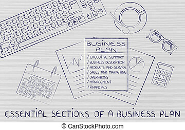detailed documents on desk, with text Sections of a business plan