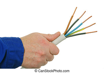 High power cabel - Hand is holding a high power cabel Shot...