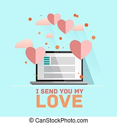 Valentine's day illustration. Receiving or sending love emails for valentines day, long distance relationship. Flat IT design