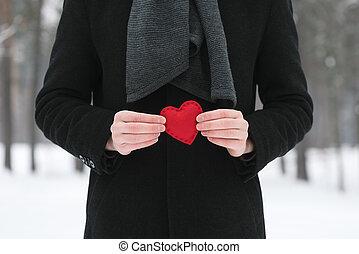 Decorative heart in hands of men