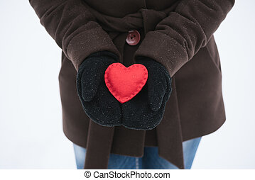 Red decorative heart in the hands