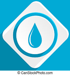 water drop blue flat design modern icon for web and mobile...