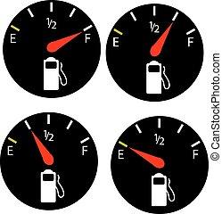 petrol meter, fuel gauge