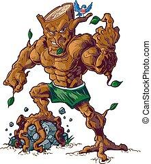 Muscular Tree Mascot Crushing Rock - Vector cartoon clip art...