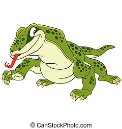 cute cartoon komodo - cute and happy cartoon varan (komodo...