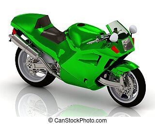 Sportbike Motorcycle with bright green enamel covering
