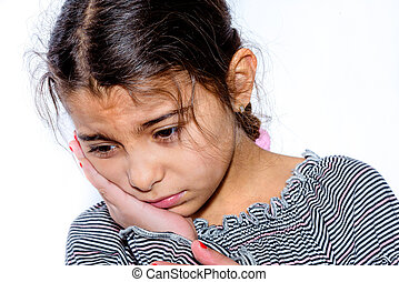 Little girl with toothache in white background
