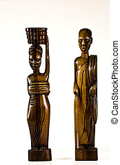 African Art Figurines  on white background
