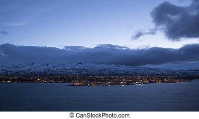 Time lapse of city Akureyri
