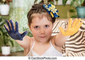 Child with outstretched hands painted - Two stretched arms...