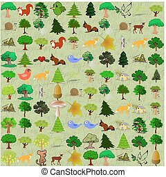 Cartoonish forest pattern - Childish funny abstractive...