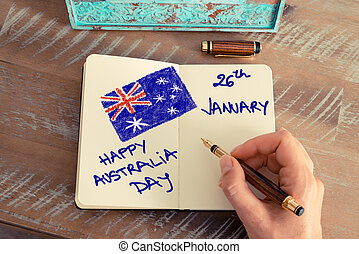 Handwritten text HAPPY AUSTRALIA DAY 26 JANUARY - Retro...