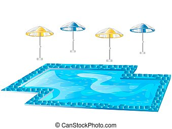 swimming pool and umbrellas isolated on white