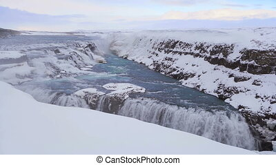 Time lapse of waterfall Gullfoss